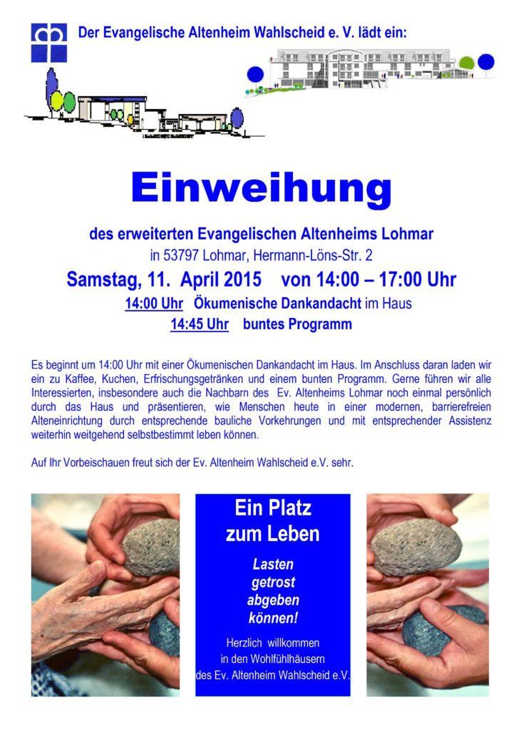 Plakat zur Einweihung des Evangelischen Altenheims Lohmar am 11.04.2015