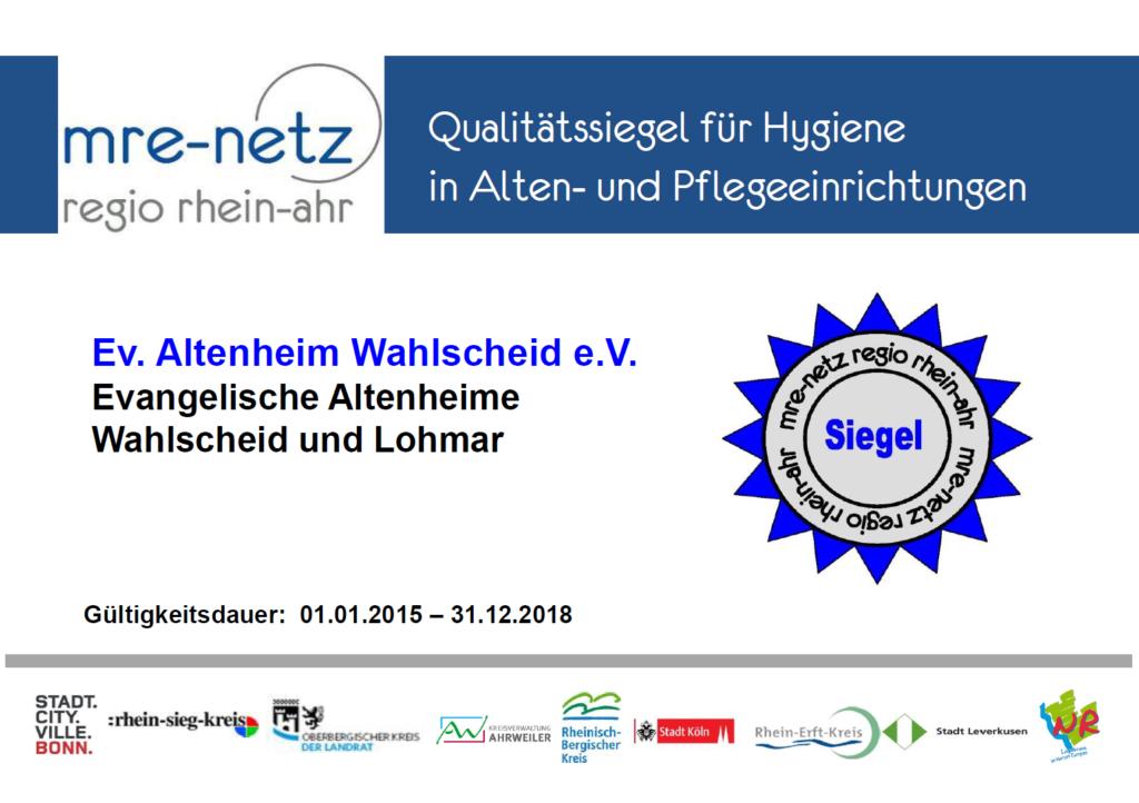 mre-Netz regio rhein-ahr Qualitätssiegel für Hygiene in Alten- und Pflegeeinrichtungen