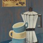 Bild: Le café, französische Kaffeekanne und ineinander gestellte Kaffeeassen