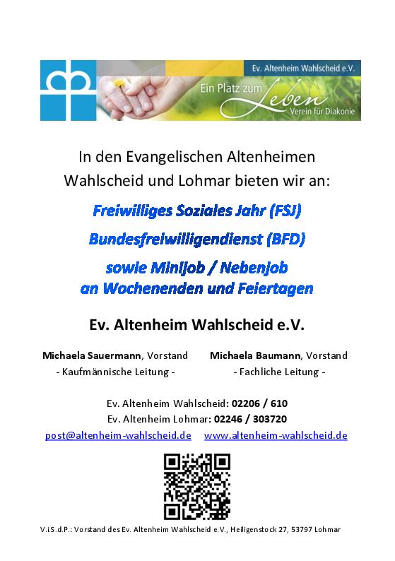 Flyer zu Stellenangeboten in Freiwilligendiensten und als Minijob