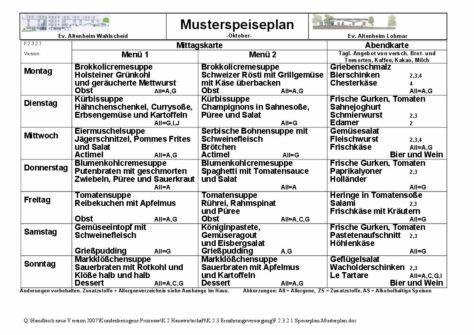 Musterspeiseplan der Zentralküche des Ev. Altenheim Wahlscheid e.V.